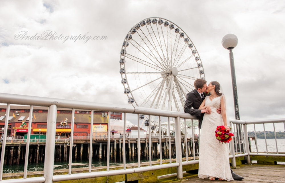 Anda Photography, creative photography, chic, artistic photography, unique photography, spring wedding, vibrant colors, lifestyle photography, on location photography,  Bellingham engagement photography, Bellingham wedding photography, creative wedding photography, unique wedding photography, vibrant images, photojournalistic photography, seattle wedding photography, seattle engagement photography, casual photography style,  emotional wedding images, bright wedding colors, Marc, Paula, Golden Gardens Bathhouse wedding, wedding in a brick building, simple urban wedding decor